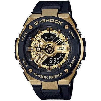 G-SHOCKG-STEEL分層防護構造腕錶(GST-400G-1A9)黑x金/52mm
