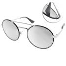 PRADA太陽眼鏡 復古雙槓圓框款/黑銀-白水銀#SPR51SS 1AB2B0