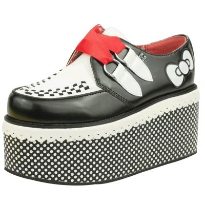 TUK+ HK 凱蒂貓紅色絲帶厚底龐克鞋-黑