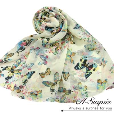 A-Surpriz 浪漫花漾彩蝶飛舞雪紡圍巾