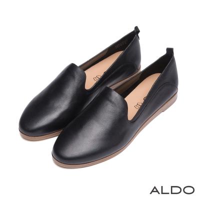 ALDO-英式雅痞風原色真皮弧線樂福鞋-尊爵黑色