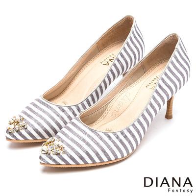 DIANA-漫步雲端焦糖美人款-奢華璀璨亮鑽條紋跟鞋-黑