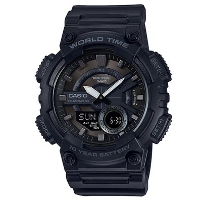 CASIO 悍將世界城市玩家雙顯運動錶(AEQ-110W-1B)-神秘黑/46.6mm