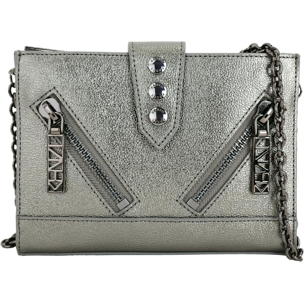 KENZO Kalifornia 雙拉鍊排釦設計皮革鍊帶包(銀灰色)