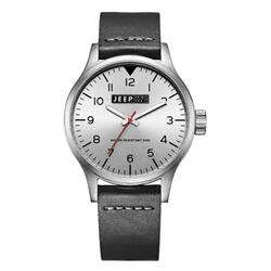 Jeep Spirit 美式復古系列手錶-銀面/黑帶-42mm