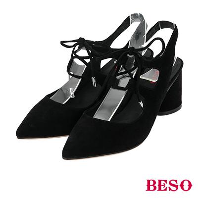 BESO簍空曲線 尖頭綁帶全真皮粗跟鞋~黑