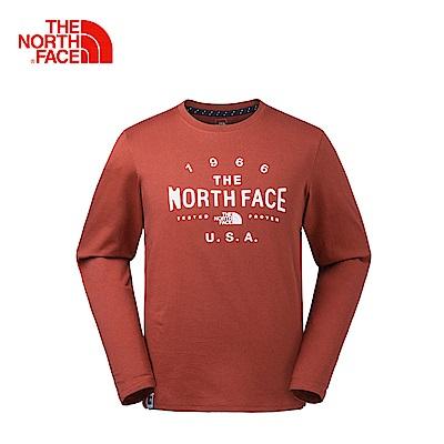 The North Face北面男款紅色透氣舒適長袖T恤