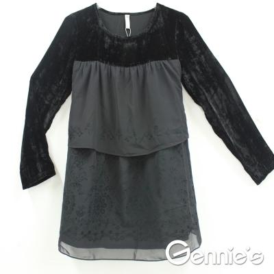 【Gennies奇妮】低調典雅層次絨布秋冬哺乳上衣(黑GN097)-M