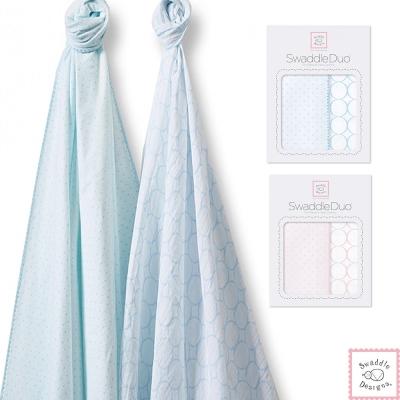 Swaddle Designs 法蘭棉絨及薄棉羅紗嬰兒包巾2入禮盒-水玉圈圈