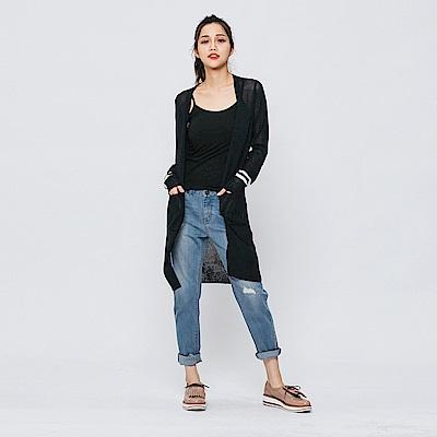 Hang Ten - 女裝 - 背繡字針織長外套-深藍色