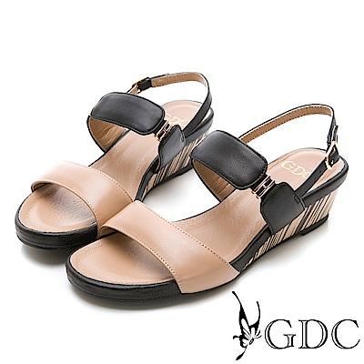 GDC-羊皮春夏撞色質感涼鞋-可可色