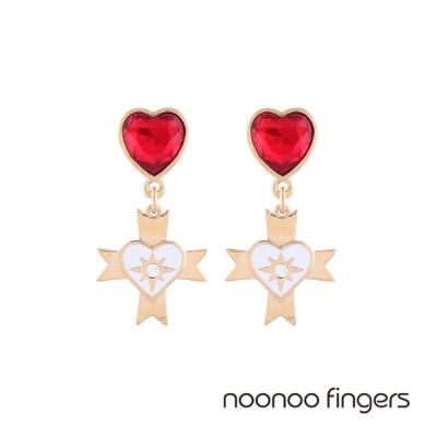 Noonoo Fingers Oscar 奧斯卡紅愛心水鑽耳環