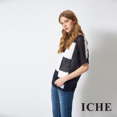 ICHE-衣哲-百搭撞色微寬鬆造型針織上衣