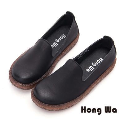 Hong Wa 經典簡約牛皮素面包鞋- 黑