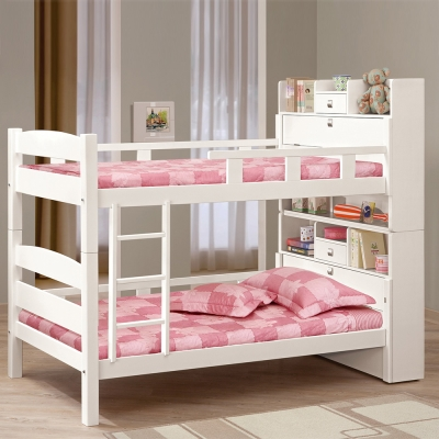 Bernice-潔妮3.7尺白色書櫃型雙層床架