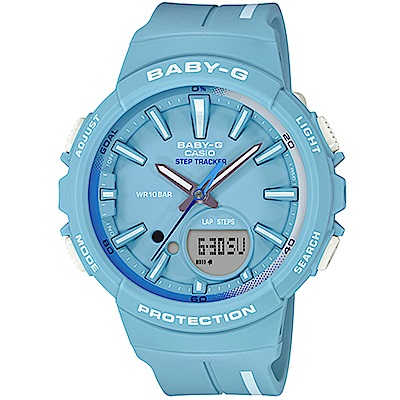 BABY-G Step Tracker計步運動錶(BGS-100RT-2A)藍/42.6