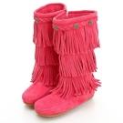 MINNETONKA 牛仔三層流蘇麂皮桃紅色長靴 童鞋 (展示品)