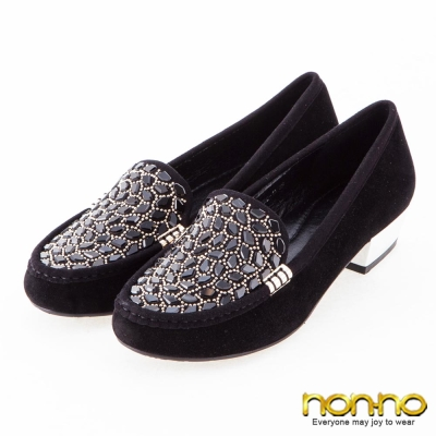 nonno-麂皮時尚-寶石金屬釦粗低跟鞋-黑