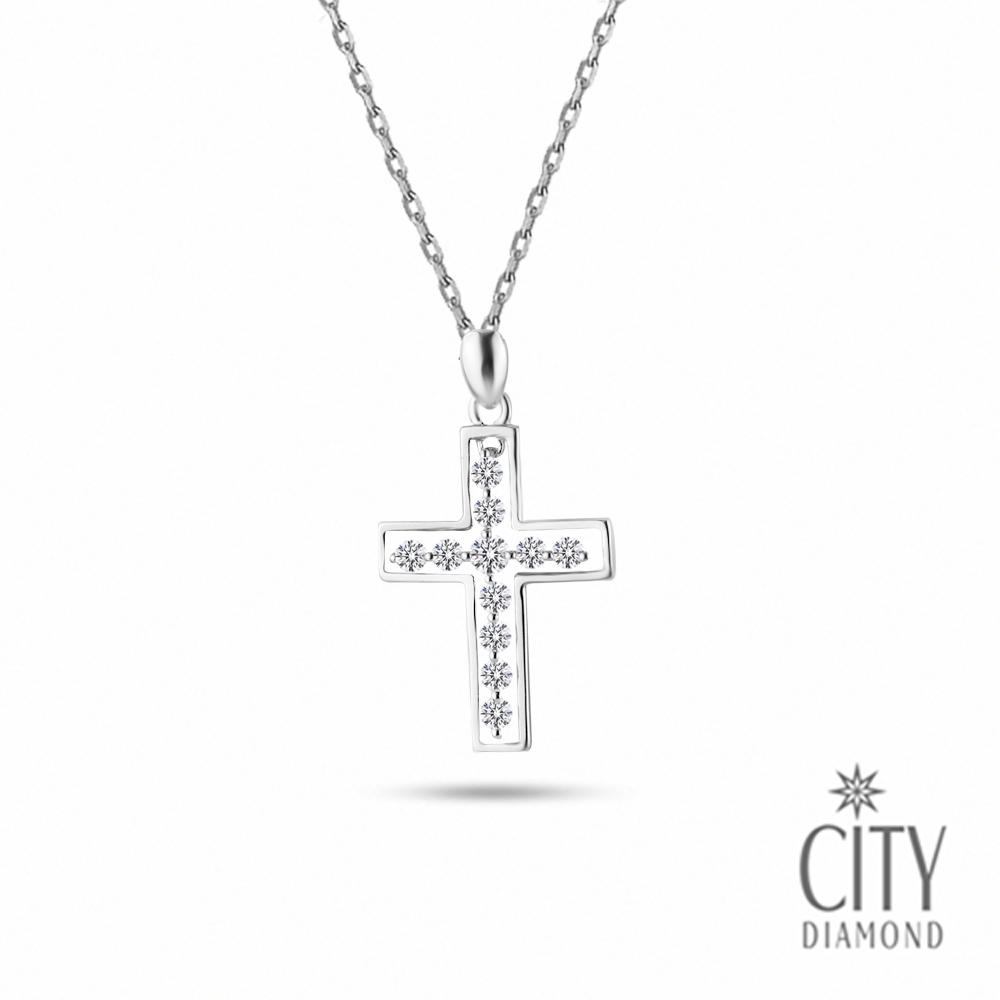 City Diamond引雅【Belief十字架系列】方框晶鑽K金項鍊