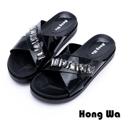 Hong Wa - 時尚派對風水鑽貼飾厚底拖鞋 - 黑