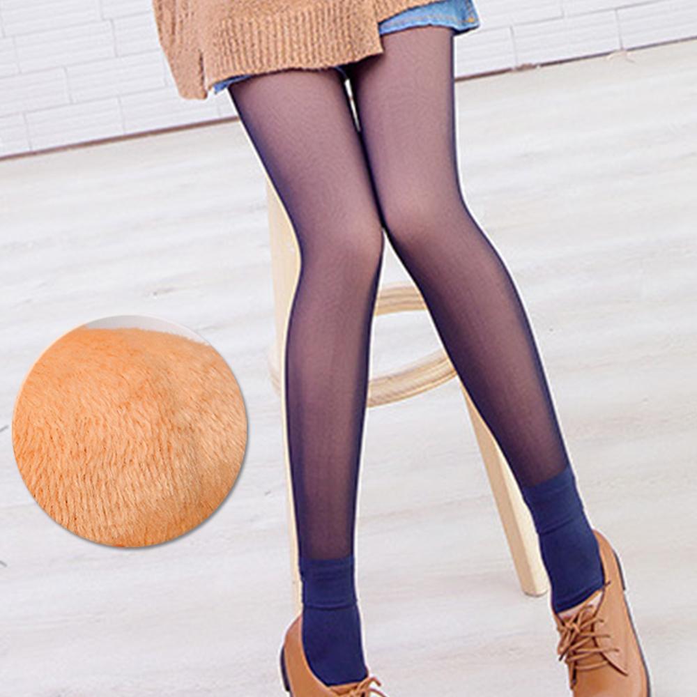 褲襪 光腿神器 韓國假透膚超顯瘦厚絨亮腿 藍透膚 ThreeShape