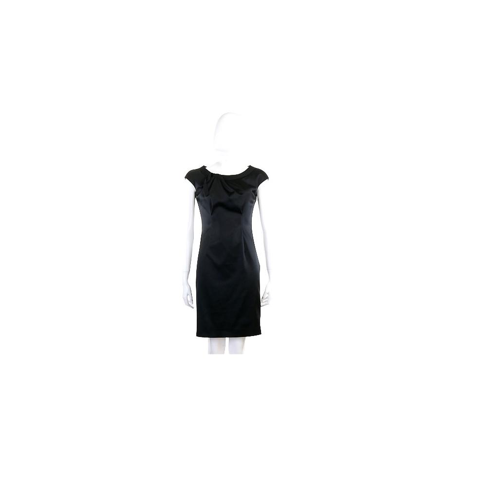 PHILOSOPHY 黑色緞面抓褶短袖洋裝