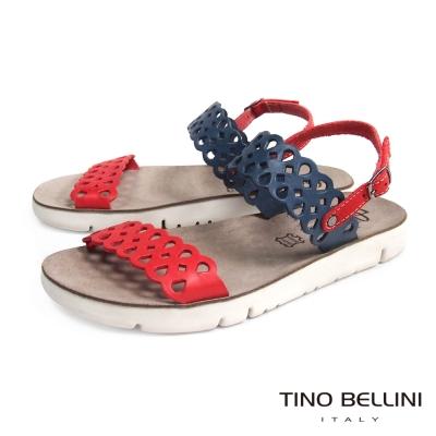 Tino Bellini 希臘進口浪漫鏤空休閒平底涼鞋_藍+紅