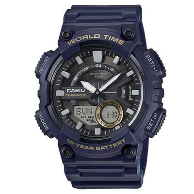 CASIO 悍將世界城市玩家雙顯運動錶(AEQ-110W-2A)-藍X黑面/46.6mm