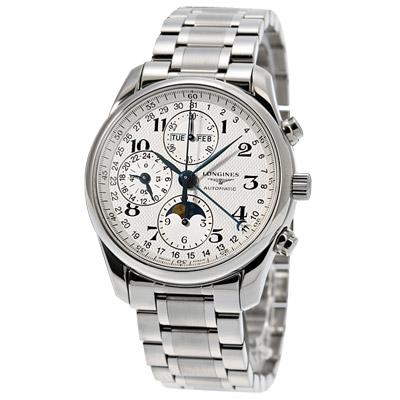 LONGINES 浪琴巨擘多功能月相腕錶-白/40mm