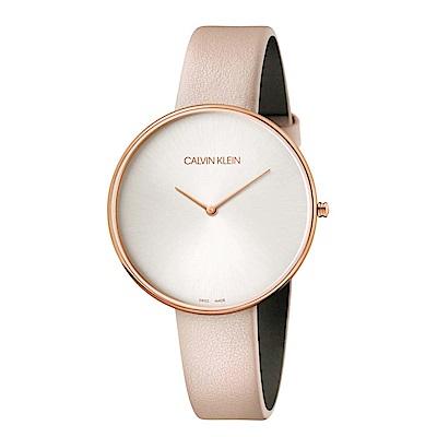 CALVIN KLEIN Full Moon 系列 望月系列白色玫瑰金粉色錶帶款手錶
