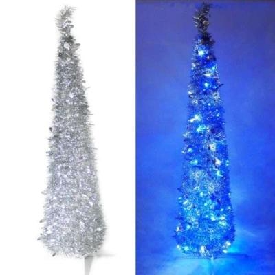 6尺(180cm)彈簧摺疊銀色哈利葉瘦型鉛筆樹聖誕樹(+LED100燈藍白光)