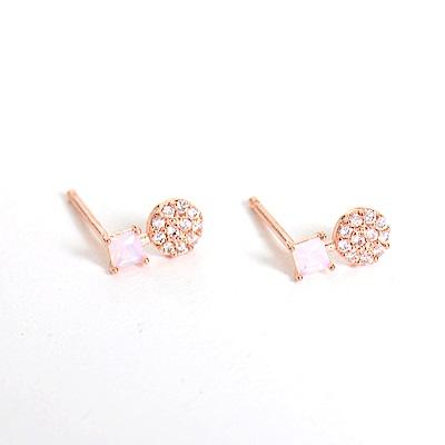 微醺禮物 正韓 鍍K金針 蛋白粉紅方鋯 垂墜小圓 簡約精緻可愛春天 耳針 耳環