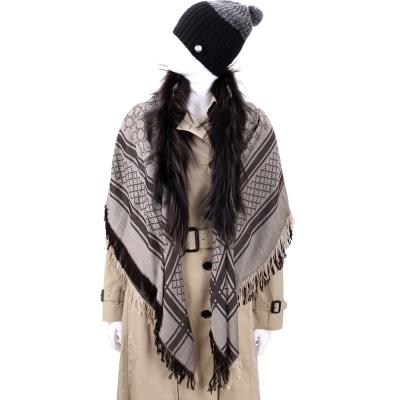 GUCCI 咖啡色雙G織紋狐狸皮草飾邊披肩(70%LANA)