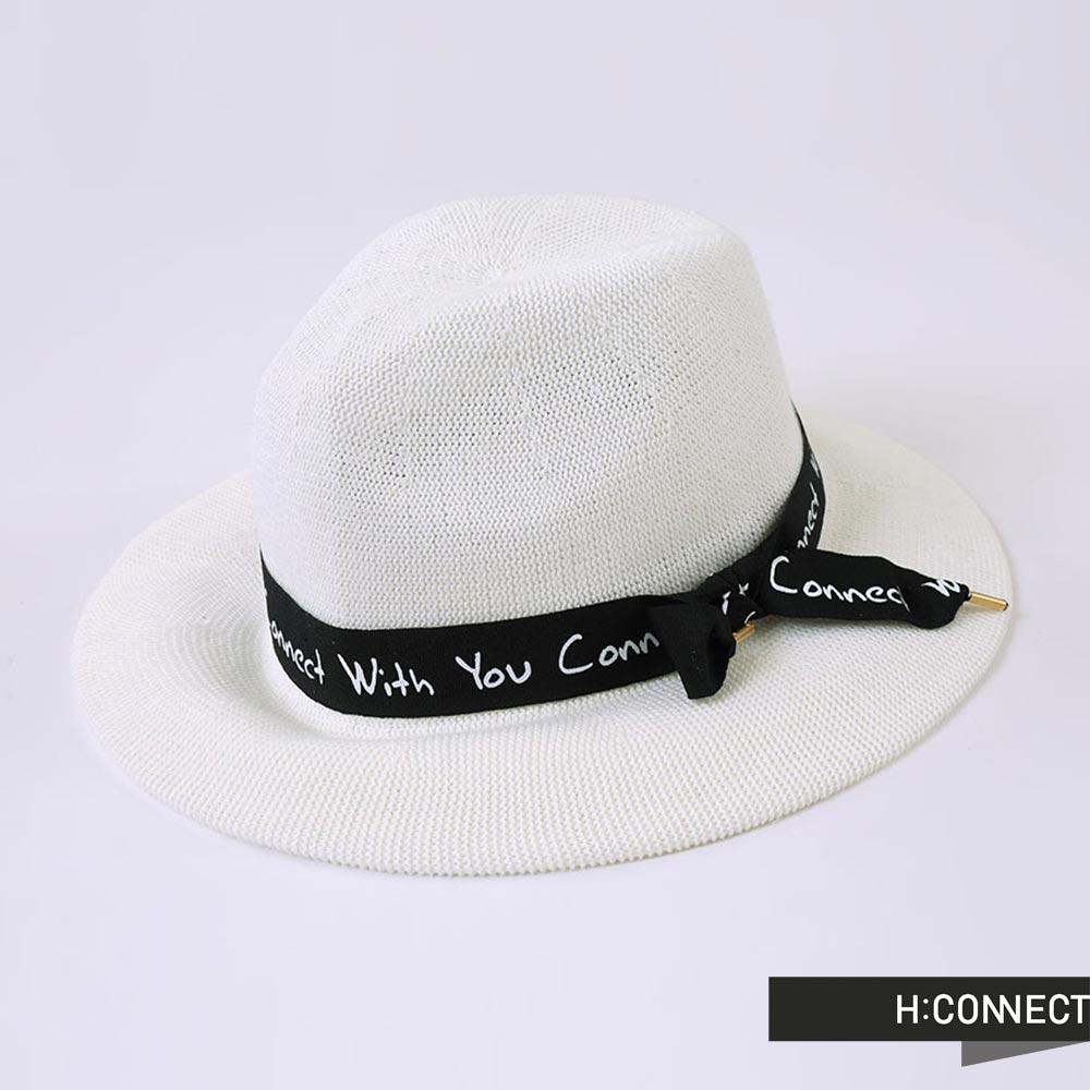 H:CONNECT 韓國品牌 CONNECT緞帶編織紳士帽 - 白