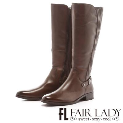 Fair Lady 唯美率性車線條紋長筒靴 咖啡