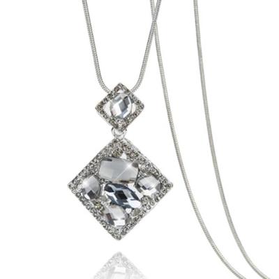 梨花HaNA 韓國寶石出眾注目雙菱形氣質長項鍊銀色
