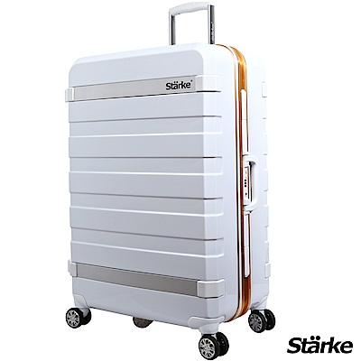 Starke 29吋 PC 鏡面鋁框耐撞TSA海關鎖行李箱/旅行箱 J系列-白色