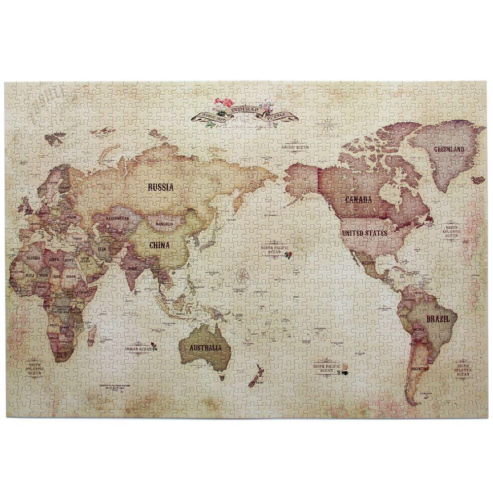 Indigo 環遊世界地圖拼圖1000片-復古版