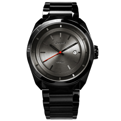 LICORNE力抗 entree 立體層次日期防水不鏽鋼手錶-深灰x鍍黑/42mm
