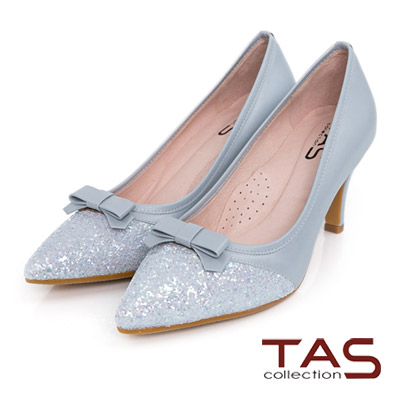 TAS-蝴蝶結璀璨碎石拼接尖頭跟鞋-氣質灰