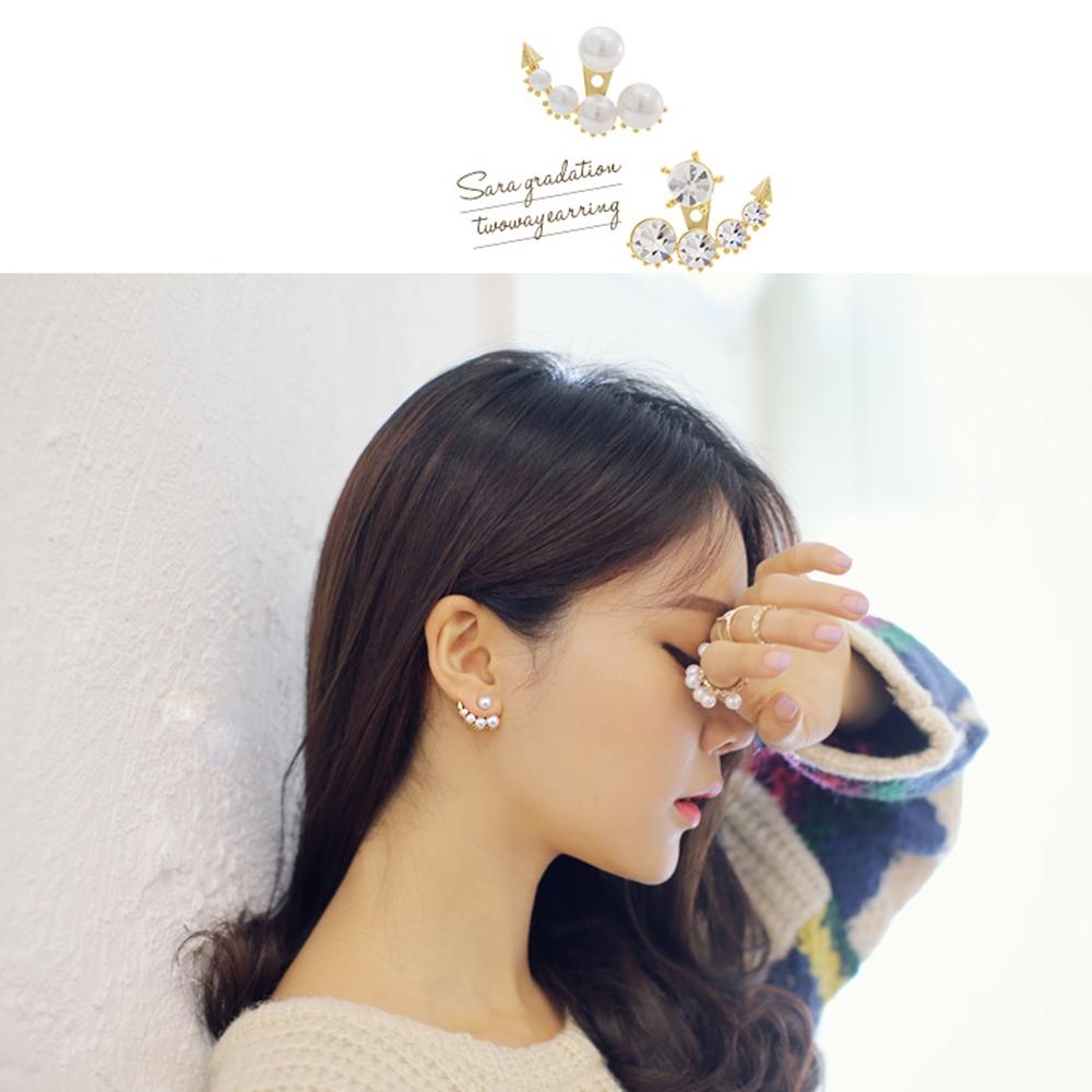 梨花HaNA 無耳洞美女的生韓藝瑟不對襯珍珠鑽石月牙耳環夾式