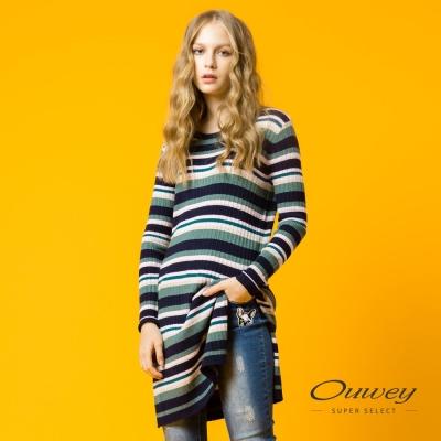 OUWEY歐薇 鑲蔥條紋長版針織洋裝(綠)