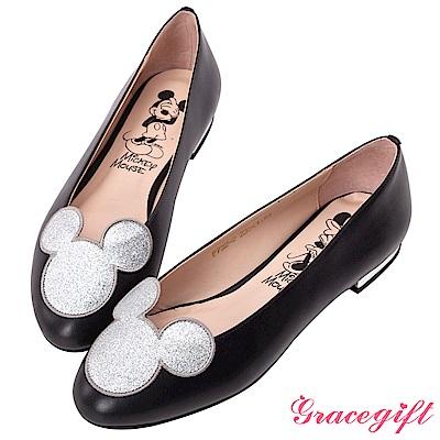 Disney collection by grace gift立體飾片平底娃娃鞋 銀