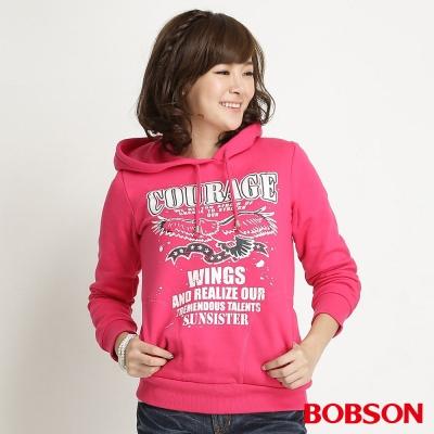 BOBSON 女款內刷毛連帽長袖上衣(桃紅15)