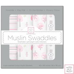 Swaddle Designs 粉紅兔兔森林多用途嬰兒包巾4入禮盒