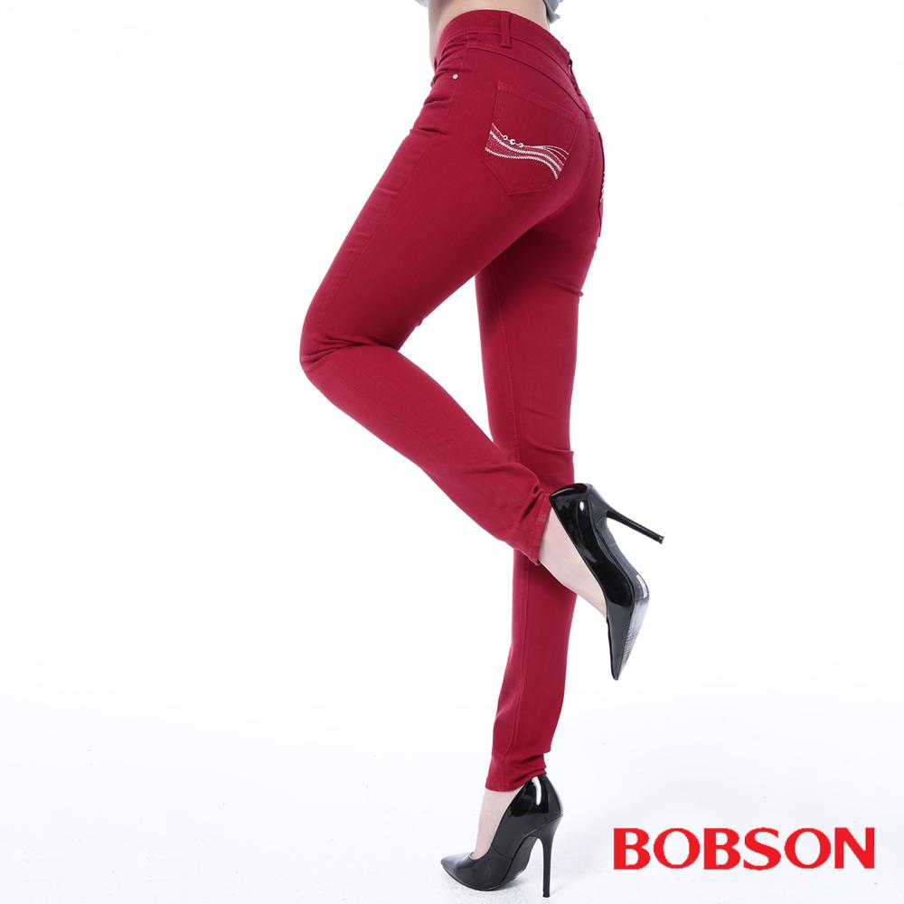 BOBSON 女款高腰膠原蛋白彩色小直筒褲 -紅色