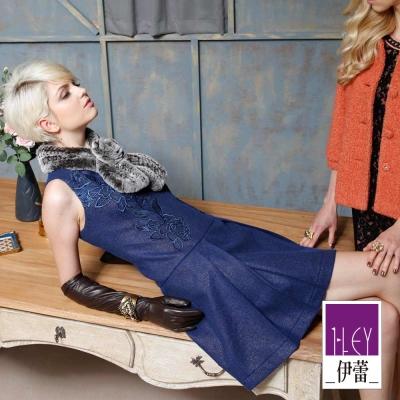 ILEY伊蕾-繡花蕾絲修身剪裁洋裝