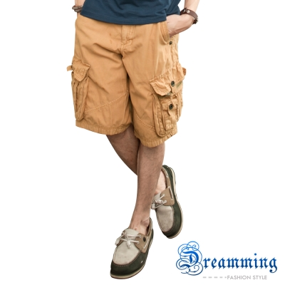 Dreamming 多口袋可反摺休閒五分短褲-共三色