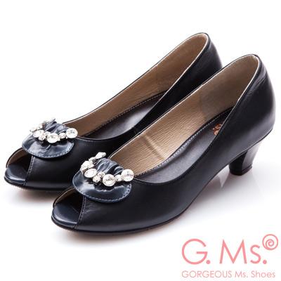 G.Ms. MIT系列- 牛皮魚口鑽飾粗跟鞋-黑色