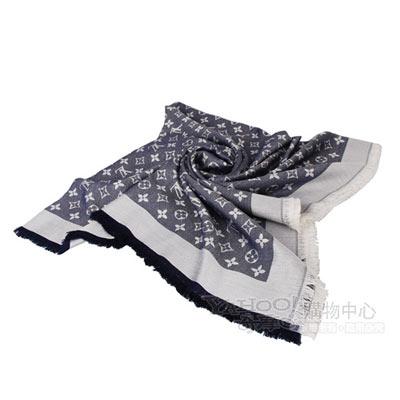 LV【M71376】經典Monogram denim花紋流蘇圍巾(藍)